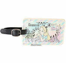 Disney Alice in Wonderland Flowers Faux Leather Luggage Tag Backpack Bag ID NEW