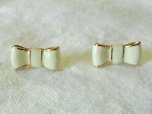 Kate Spade Take A Bow Gold Plate Cream & Gold Enamel Earrings /Studs