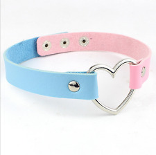 BLUE-PINK PU Collar Leather Heart Shaped Gothic Punk Choker Neck Necklace 2017
