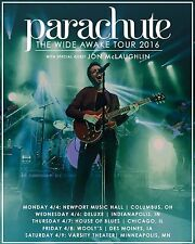 "PARACHUTE / JON MCLAUGHLIN ""WIDE AWAKE TOUR 2016"" USA CONCERT POSTER - Pop Rock"