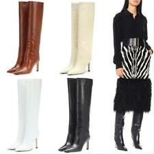 Fashion Women Crocodile Print Knee High Riding Boots Pointed Stilettos Heel Sexy