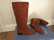 Ladies Tan suede knee boots in box sz 4 UK 37 EU BY LACEYS