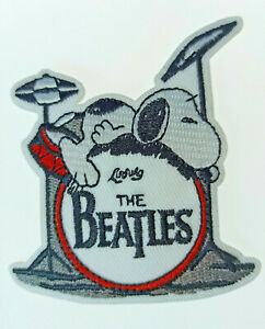 SNOOPY THE BEATLES PEANUTS 3' 7cm IRON or SEW ON PATCH BADGE EMBROIDERY APPLIQUE