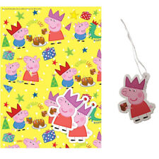 Stunning Yellow Peppa Pig Gift Wrapping Paper with 2 Peppa Pig Gift Tags