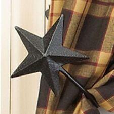 New Primitive Country Farmhouse 2 BLACK STAR CURTAIN TIE BACKS Window Hooks