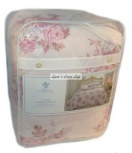 SIMPLY SHABBY CHIC Pink Blush Floral 3P KING COMFORTER SET COTTON Rachel Ashwell