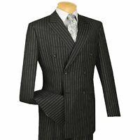 VINCI Men's Black Pinstripe Double Breasted 6 Button Classic Fit Suit NEW