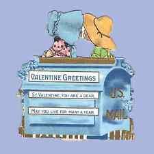 Vintage Valentine Card VALENTINE'S DAY Sunbonnet MAILBOX Kiss KISSING Kisses