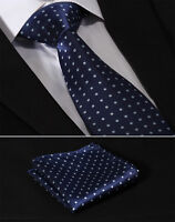 "Navy Blue Polka Dot 3.4"" Silk Woven Mens Tie Necktie Handkerchief Set#TD1003B8"
