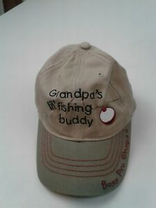 Toddler 2-4 Bass Pro Shops Grandpa's Fishing Buddy Canvas Hat Cap Embroidered