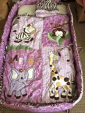 Baby Girl's Crib Bedding Set Purple Safari Animals Bumper, Comforter, Dust Ruffl