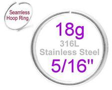 "18g 5/16"" 8mm Stainless Steel Seamless Hoop Ring Ear Cartilage Nose Eyebrow Snug"