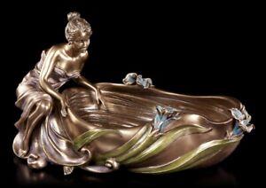 Jugendstil Schale - Frau sitzt an Wanne - Veronese Elfen Nixen Schmuckschale