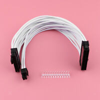 30cm 24pin Male to Female ATX Extension Sleeved Braided Power Supply Cable