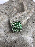 Vintage Green Earrings Genuine Chrome Diopside 925 Sterling Silver