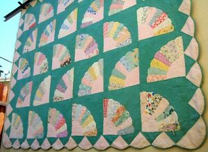 Vintage 30's 40's Fan Quilt Hand stitched pastel green