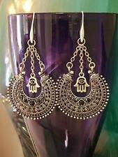 Akashic Creations design Hamsa hand of Fatima mirror earrings - Nickel Free