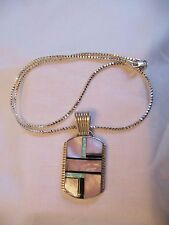 """NATAANII NAVAJO ARTIST STERLING SILVER INLAY PENDANT WITH 16"""" CHAIN SIGNED"""