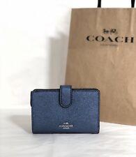 NWT Coach F23256 Crossgrain Leather Medium Corner Zip Wallet Metallic Navy $165