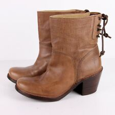 Frye Carmen Short Back Lace Booties Womens 5.5 Fawn Leather Ankle Boots Western
