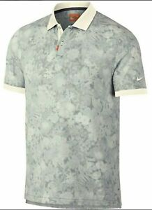 Nike Dri-FIT Gray White Orange Koepka Floral Golf Polo Shirt AV5240-015 LRG NWT