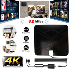 80 Mile HDTV Indoor Antenna Aerial HD Digital TV Signal Amplified Booster Cables