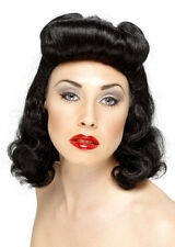 Black 1940's Glamour Curly Pin Up Girl Wig