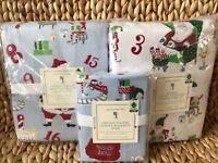Pottery Barn Kids Santa Workshop Twin Duvet Cover Sheet Set Sham Christmas New