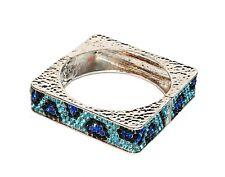 & Blue Rhinestones Cheetah Pattern Bracelet Hinged Bangle Hammered Silvertone