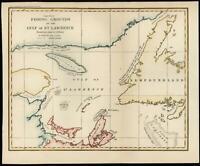 Canada Gulf of St. Lawrence New Brunswick 1884 Fishing grounds map