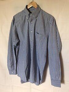 Lorenzini Dress Shirt Sz L Made In Italy Plaid Chest Pocket