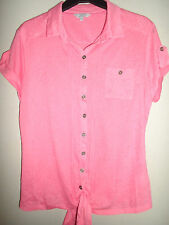 MARKS AND SPENCER PER UNA CORAL BLOUSE WITH TIE KNOT WAIST SIZE 14