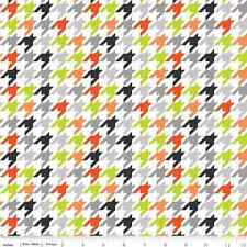 1YD HOUNDSTOOTH ORANGE LIME Halloween Plaid Riley Blake Fabric Quilting Sewing