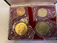 Lundy Island 4 Coin Proof Set-1965 Brass-Copper-Puffin Bird In Presentation Case