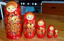 Vintage Hand Painted Wooden Nesting Dolls Unmarked Russian Girls ? 5 Dolls
