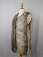 INC International Concepts Long Winter Faux Fur Vest Neutral Beige S/M #5781
