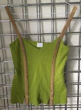 TSE Ladies Size S 100% Cashmere Green Short Sleeveless Jumper Sweater Gold Cami
