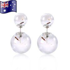 Double Sided Dandelion Wish Glass Ball Orb Ear Stud Earrings Jewellery Gift