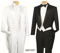 Men's Formal Tuxedo Prom Wedding Groom Suit Classic Fit With Tail Black & White