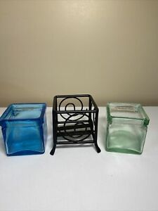 """Versatile Votive Candle Holders Glass and Iron Interchangeable 3"""" Sq and 3"""" tall"""