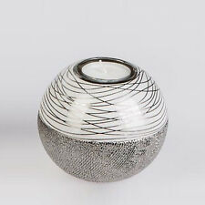 Formano Deko Teelicht Leuchter Keramik weiss silber NEU