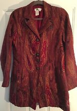 Coldwater Creek Long Jacket Coat Size Small Embellished Tapestry  Fabric NICE!