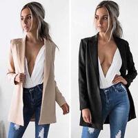 Women's Ladies Blazer Coat Jacket Outerwear Casual Long Sleeve Office Slim Suits