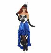 Grotesque Burlesque Pin Up Costume, Blue, with Corset & Skirt Horror Halloween