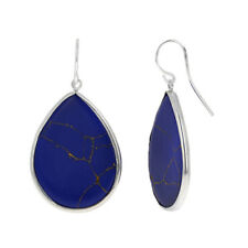Sterling Silver Lapis Earrings, Dangle, Teardrop Shape, Large Dangle Earrings