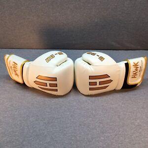 Hawk Boxing B-92 White Leather Boxing Gloves 14oz Muay Thai UFC Kickboxing