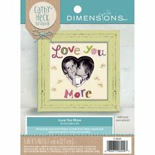 """Love You More Embroidery Kit 5"""" x 5"""" Add Your Own Photo New Heart Dimensions"""
