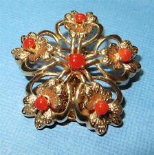Vintage 14K Gold Flower Burst Brooch Pin Beautiful Red Carnelian Cabochons