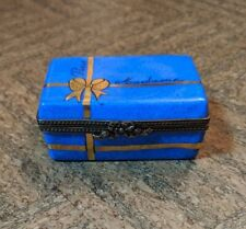 New ListingLimoges Hinged Trinket Box, Blue and Gold Gift Box, Peint Mein, Made in France