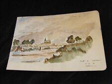 Aquarelle Metz Pont de l'abattoir A.Simon 1926-2014 1946 Artiste Lorrain